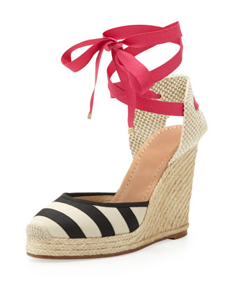 santorini striped espadrille wedge, black/white