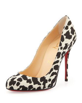 Fifi Leopard-Print Crepe Red Sole Pump