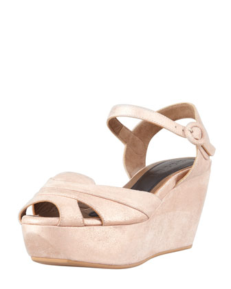 Metallic Leather Platform Wedge Sandal, Light Pink