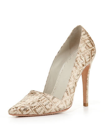 Dina Metallic Crocodile-Embossed Pump