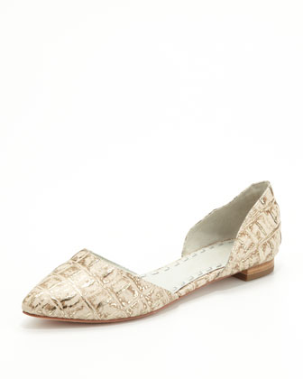 Hillary Metallic Crocodile-Embossed d'Orsay Flat