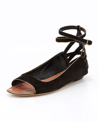 Hanne Strappy Peep-Toe Sandal, Black