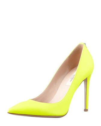 Rockstud Leather Simple Pump, Yellow