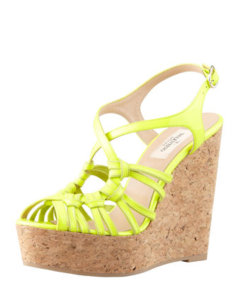 Strappy Patent Cork Wedge Sandal, Yellow