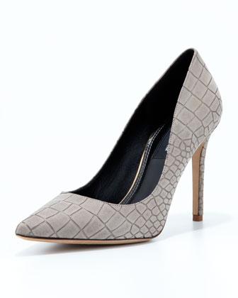 Pilar Crocodile-Print Pointy Pump