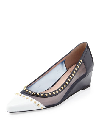 Hottip Mesh & Patent Wedge, Navy/White
