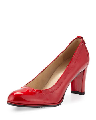 Rolling Round-Toe Pump, Red Quasar