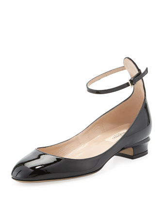 Patent Low-Heel Ballerina Pump, Black