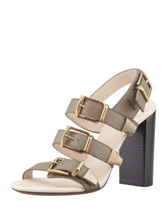 Triple-Buckle Leather Sandal, Clay