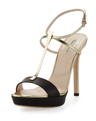 Metallic T-Bar Platform Sandal