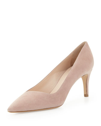 Suede Low-Heel Point Pump, Poudre