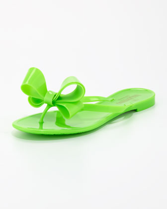 Jelly PVC Bow Thong Sandal, Green