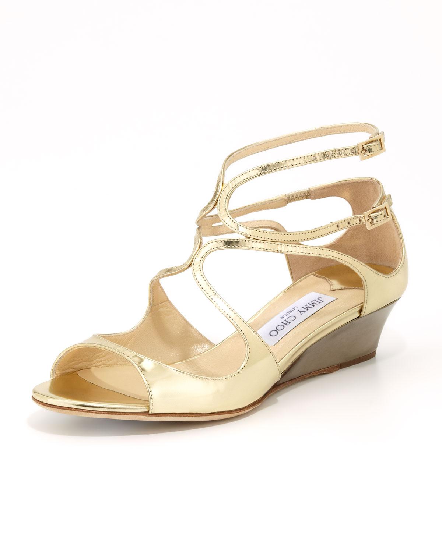 Inka Wedge Mirror Sandal, Gold   Jimmy Choo   Gold (35.0B/5.0B)