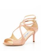 Lila Patent Crisscross Sandal, Blush