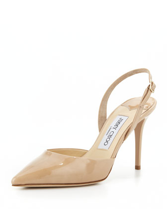 Tilly Patent Slingback Pump, Nude