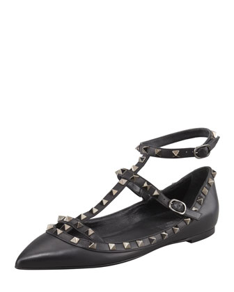 Noir Rockstud Leather Cage Ballerina