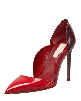 Scalloped Pointed-Toe Single-Sole Pump, Red