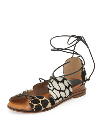Penny Calf Hair Lace-Up Sandal