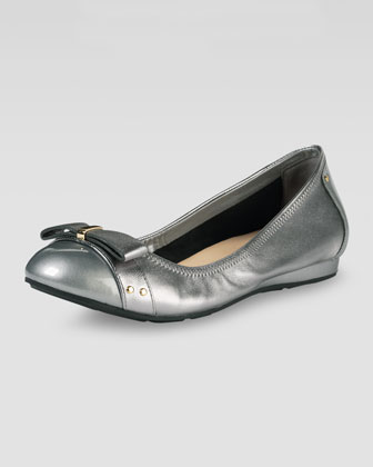 Monica Air Bow Ballerina Flat, Armor Metallic