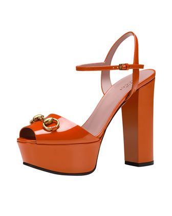 Claudie Patent Platform Sandal, Orange