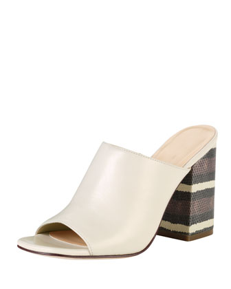 Luci High-Heel Lizard-Print Slide, Ivory