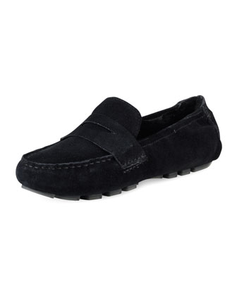 Sadie Deconstructed Shearling Moccasin, Black