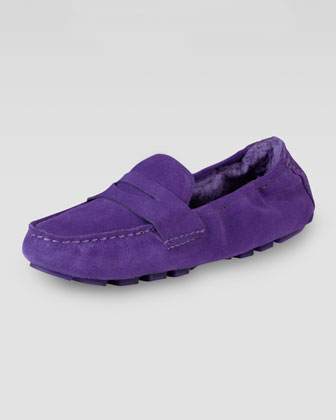 Sadie Deconstructed Shearling Moccasin, Purple