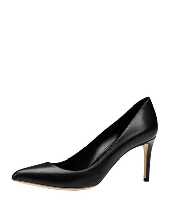 Brooke Mid-Heel Point-Toe Pump, Black