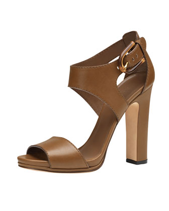 Nadege High-Heel Leather Sandal, Brown