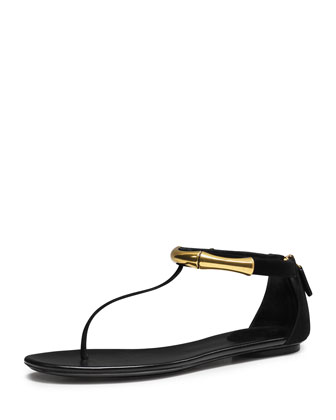 Coraline Bamboo Ankle-Wrap Thong Sandal, Black