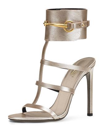 Ursula Metallic Ankle-Wrap Cage Sandal, Silver