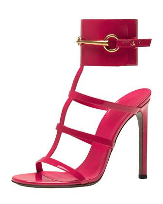 Patent Ankle-Wrap Cage T-Strap Sandal, Pink