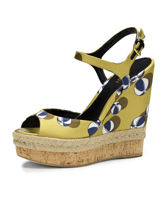 Hollie Printed Satin Wedge Sandal, Lime/Blue