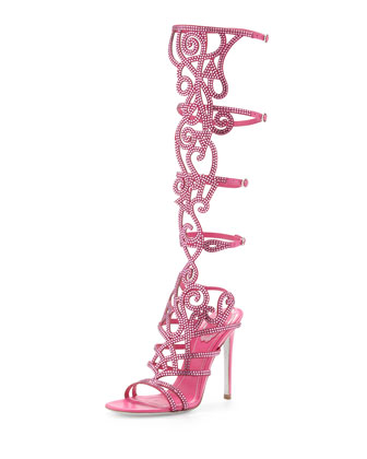 Knee-High Crystal Sandal