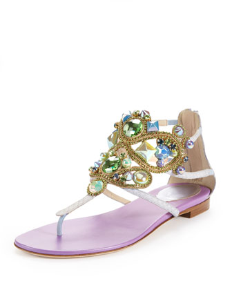 Chandelier Sea Stone Ankle-Wrap Flat Thong Sandal