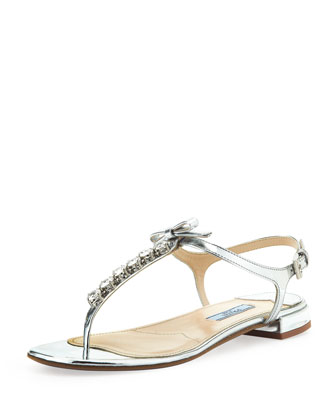 Metallic Jewled Thong Sandal