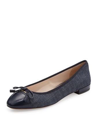 Denim Cap-Toe Ballerina Flat, Blue
