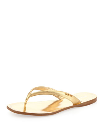 Metallic Saffiano Flip-Flop, Gold