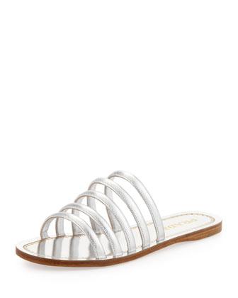 Vernice Saffiano Strappy Flat Sandal