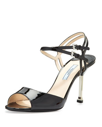 Patent Double-Wrap Sandal, Black