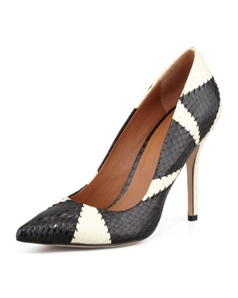 Alta Patchwork Snake Pump, Black/White