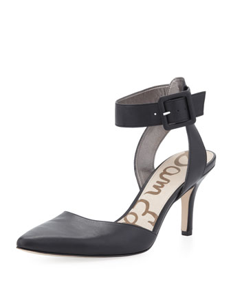 Okala Leather Ankle-Wrap Pump