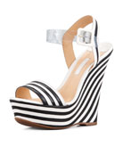 Erann Striped Leather Wedge