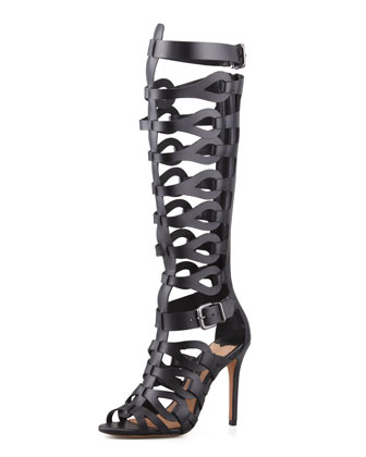 Eirini Knee-High Gladiator Sandal, Black