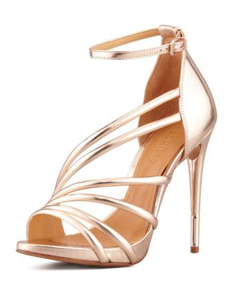 Adeline Strappy Metallic Sandal, Frappe