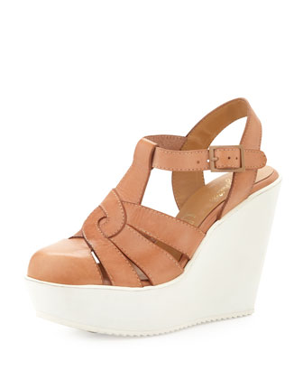 Bright Lights Rubber-Wedge Leather Sandal, Tan