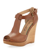 Backbay Peep-Toe Stacked Wedge Sandal
