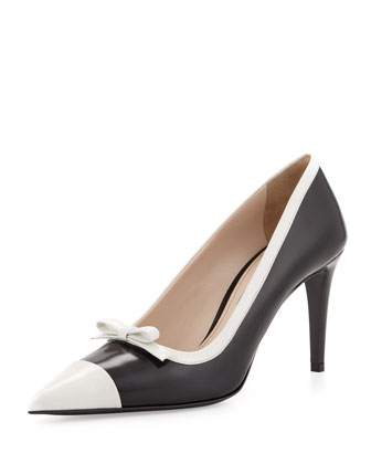 Spazzolato Bicolor Cap Toe Bow Pump