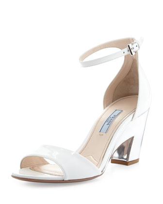 Patent Cutout-Heel Sandal, White/Silver