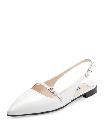 Spazzolato Pointed-toe Flat, Sand